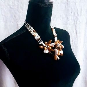 #J5 Brown & White Flower Bead Designed Necklace